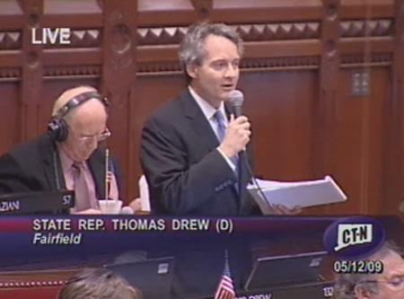 State Representative Thomas Drew speaking in favor of the National Popular Vote on May 12, 2009
